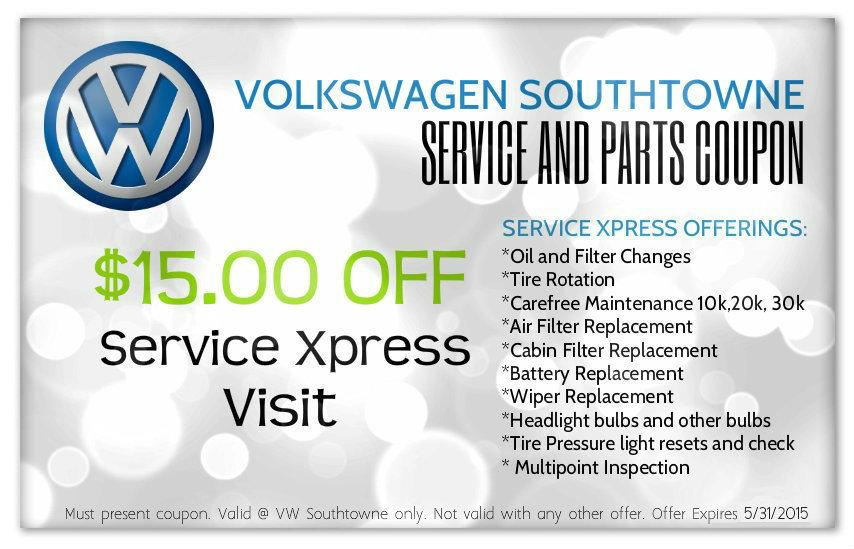Volkswagen service coupons discounts