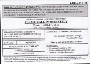 fake warranty letter
